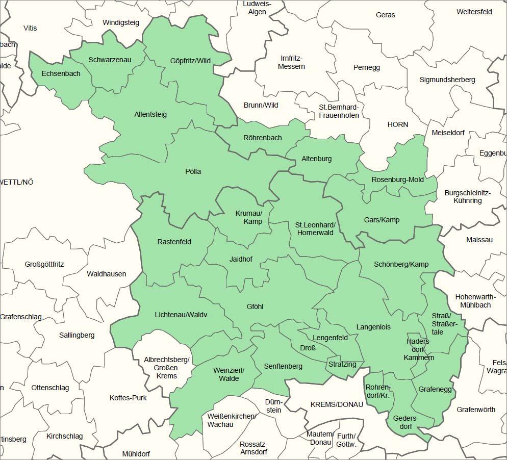Landkarte LEADER-Region Kamptal